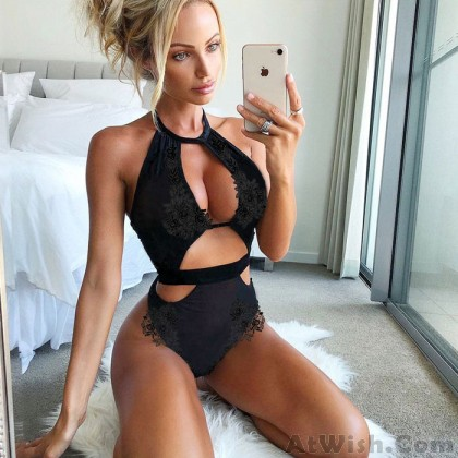 Sexy Lace Mesh Conjoined Lady Black Leaves Women Intimate Lingerie