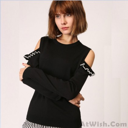 Strapless Long-sleeved Sweater Fashion Girl's Flouncy Top