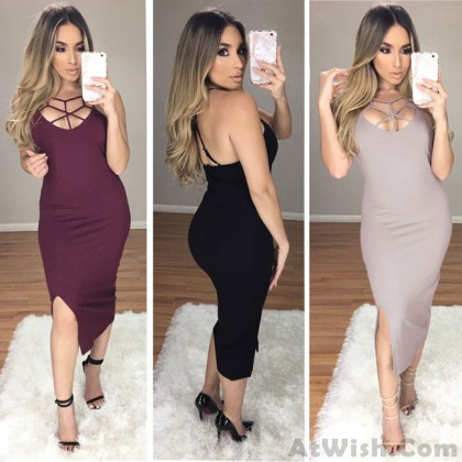 Leisure Chest Hollowed-out Side Slit Bandage Dress Skintight Women's Pure Dress