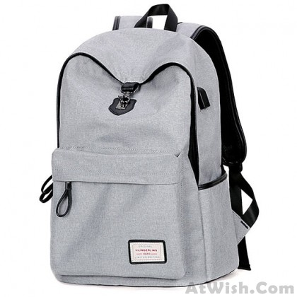 Leisure Gray Large Capacity Camping Bag USB Interface College Canvas Backpacks