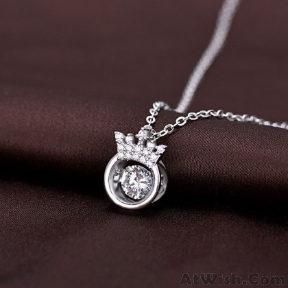Unique Crown Diamond Ring Hollow Crystal Silver Necklace Girlfriend Gift Women's Crown Silver Necklace