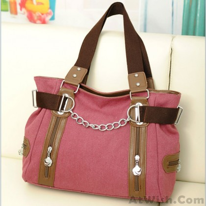 Leisure Double Zipper Chain Decorative Splicing Shoulder Bag Large Capacity Canvas Handbags
