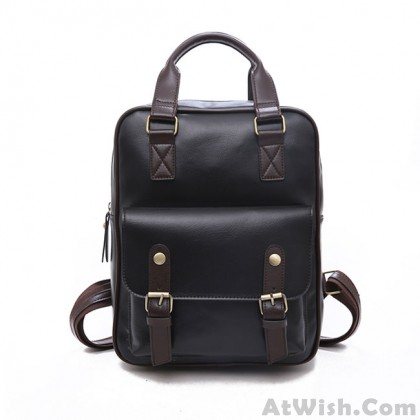 Retro British Style Soft PU College Bag Multi-function Brown Square School Backpack