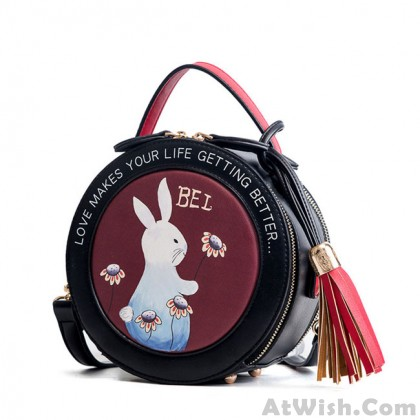 Cute Small Round Rabbit Tassel Drum Shoulder Bag