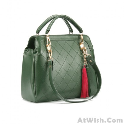 Fashion Casual Dark Green Fringed Handbag
