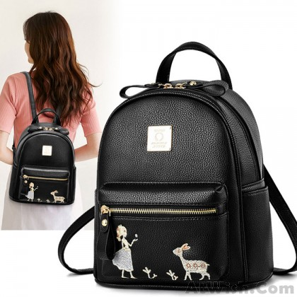 Cute Embroidery Angel Girl Deer Cartoon Small PU School Backpack