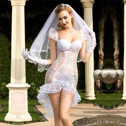 Sexy White Lace Temptation Mesh Bride See-through Lace Nightdress Intimate Lingerie