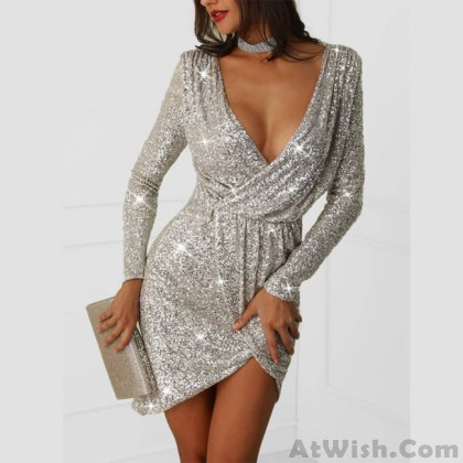 Fashion Sexy Sequin Long Deep V Exposed Sleeve Night Club Party Dress