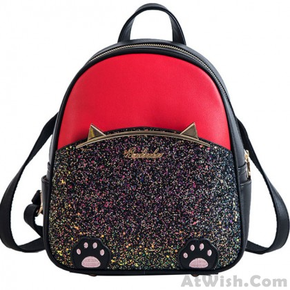 Cute Cartoon Cat Ear Cartoon Sequin Kitten Foot PU Women School Backpack