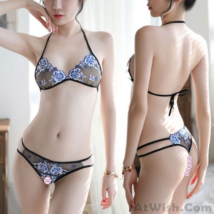 Sexy Mesh Thin Flower Embroidery Bra Set Open Underwear Women Intimate Lingerie