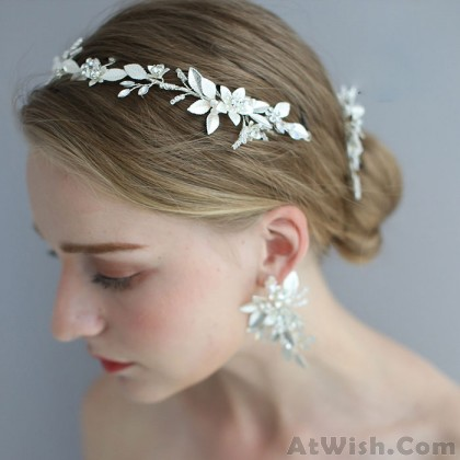 Fresh Hair Accessories Flower Pearl Wedding  Bridal Crystal Hair Band Hairpin Accessories