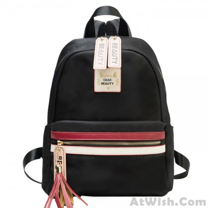 Fashion Red White Stripe Large Capacity Oxford Waterproof School Backpack