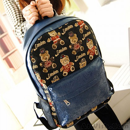Lovely Bear Printed Canvas Leisure Backpack