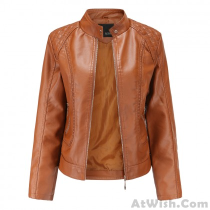 Elegant Leather Temperament Long Sleeves Stand-up Collar PU Leather Jacket Coat