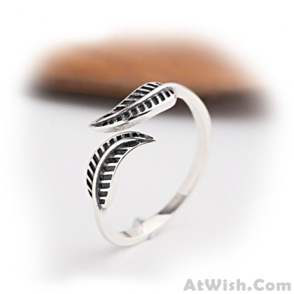 Vintage Leaf Adjustable Women's Leaves Open Silver Ring