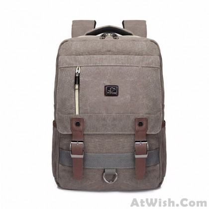 Retro Square Large Travel Backpack Double Belt Canvas Bag School Rucksack