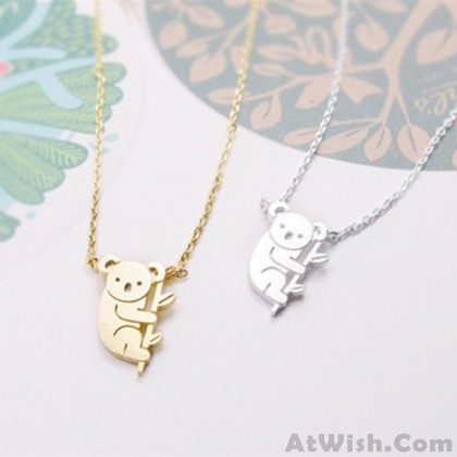 Cute Small Animal Gold Silver Plating Necklace Bear Pendant Necklace