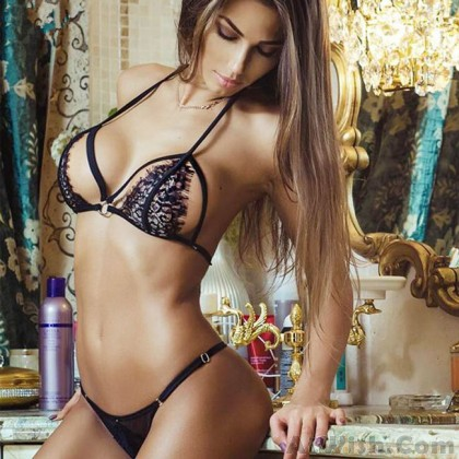 Sexy Lady's V-neck Lace Hollowed-out Halter See Through Embroidery Backless Sexy Bikini Lingerie