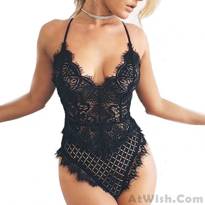 Sexy Lace Hollowed-out See Through Jumpsuit Lady's V-neck Lingerie