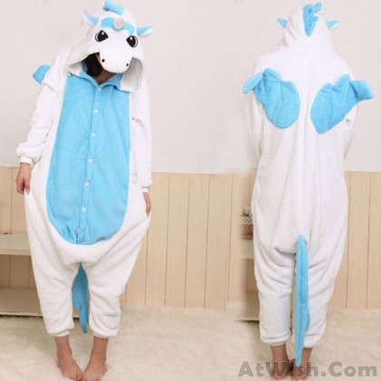 Flannel Cartoon Unicorn Animal Piece Pajamas