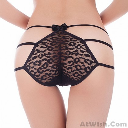 Sexy Lace Underwear Black Bow Pants Women Intimate Lingerie