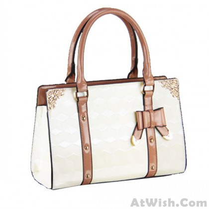 Bow Check Leather Lady Handbags Shoulder Bags