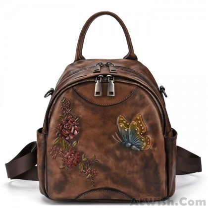 Retro Flower Leaves Leather Original 3D Butterfly Multi-function Shoulder Bag Backpack
