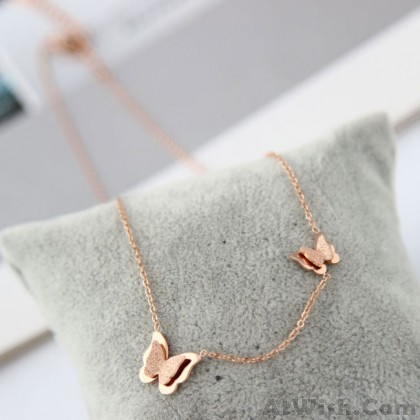 Cute Double Butterfly Pendant Animal Rose Gold Necklace