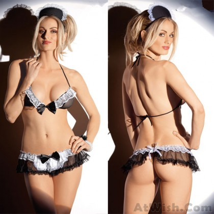 Sexy Mesh Bow Maid Cosplay Uniform Temptation Perspective Women Lingerie