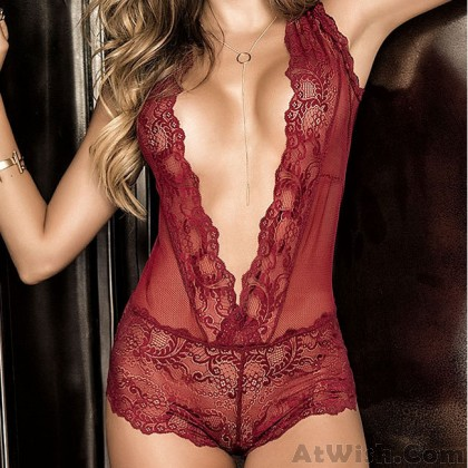 Sexy Lace Perspective Deep V Mesh Conjoined Women Intimate Lingerie