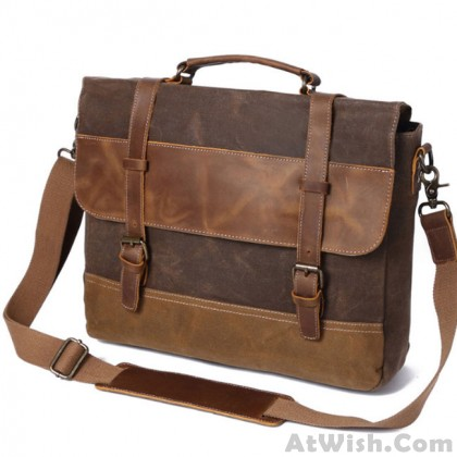 Vintage Real Leather Outdoor Large Thick Double Buckle Canvas Shoulder Bag