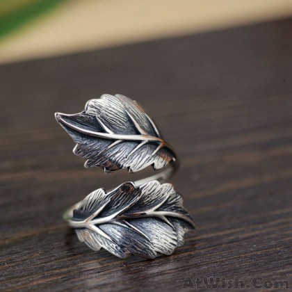 Retro Double Leaves Silver Open Leaf Women's Rings