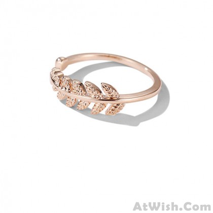 Elegant Feather Rose Gold Open Women Ring Leaf Ring