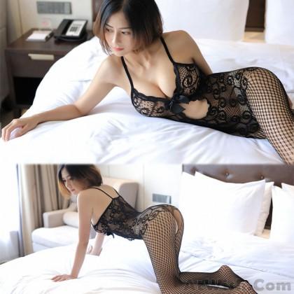 Sexy Lace Conjoined Underwear Bow Flower Intimate Net Stocking Women Lingerie