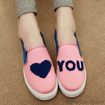 Lovely Heart Asymmetric Pattern Canvas Shoes
