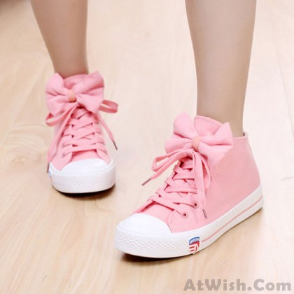 Sweet Style Casual Bow Tie Flat Canvas Shoes