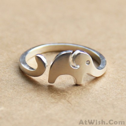 Hand Made Lovely Little Elephant 925 Sterling Silver Opening Ring
