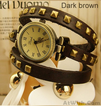 Studded Leather Retro bronze Bracelet Watch-dark brown