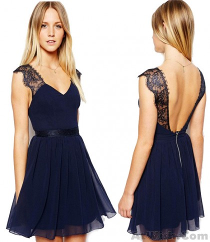 Sexy Navy Blue Lace Backless Chiffon Dress