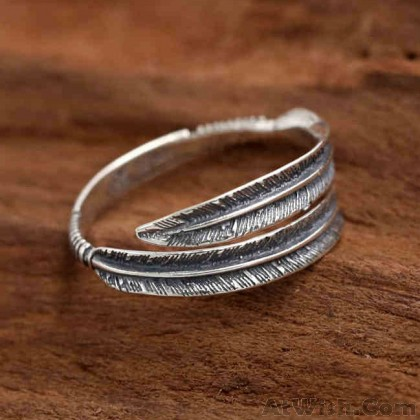 Retro Personalized Feather Open Ring Couple Ring