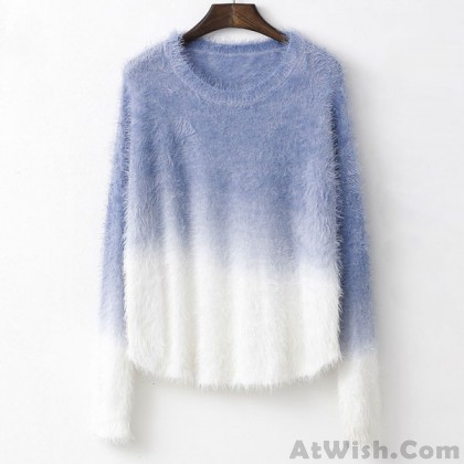Soft Springy Gradient Color Mohair Sweater