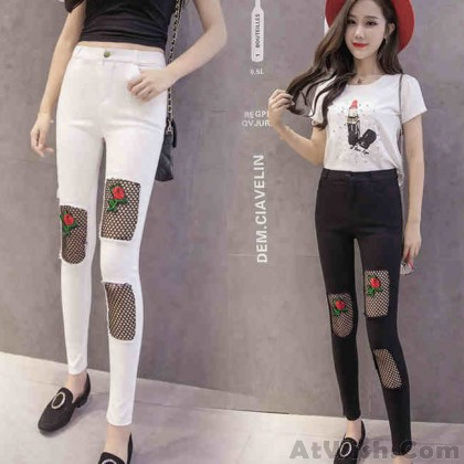 Fashion Embroidery Black Mesh Rose Patch Ripped Stretchy Skinny Ninth Legging Jean