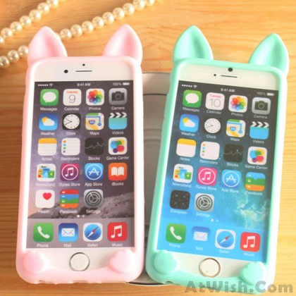 Cat Ears Lovely Animals IPhone 4/4s/5c/5/5s/6/6p Cases Soft Silicone
