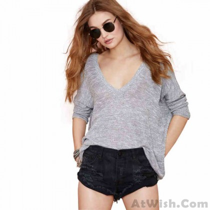 Fashion Solid Loose Deep V-neck Batwing Sleeve Knit Leisure Sweater