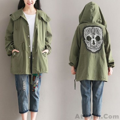 Fashion Women's Fall Middle Style Back Skull Splicing Leisurely Coat Green Draw String Nipped Waists Trench Coat