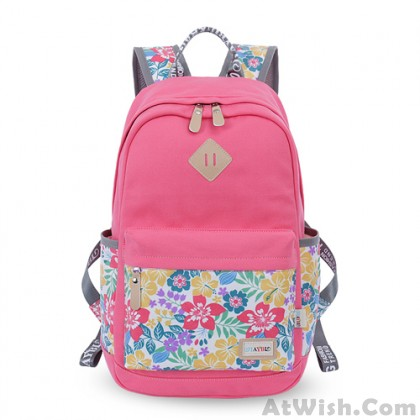 Leisure Mixed Trunk Colors Floral Pattern College Travel Bag Computer Backpack