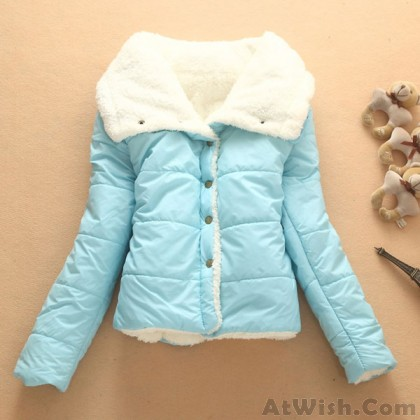 Lovely Warm Wool Cotton-padded Jacket Short Coat