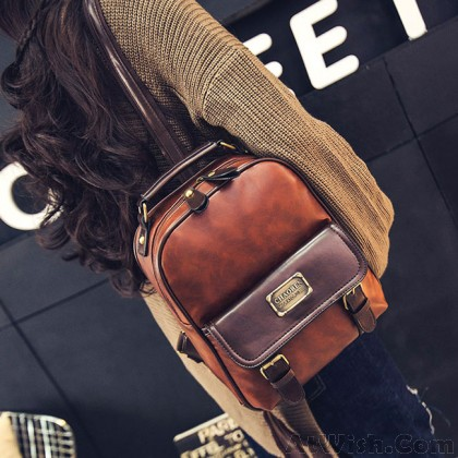 Vintage Travel PU School Backpack Retro Imitation Leather Grain Backpacks