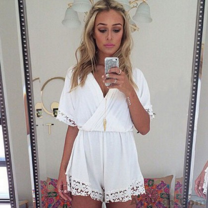 Lace Deep V-Neck Slim One Piece Romper&Jumpsuit