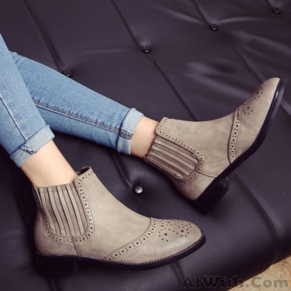 British Style Retro Solid Elastic Short Low-heeled Brogue Boots